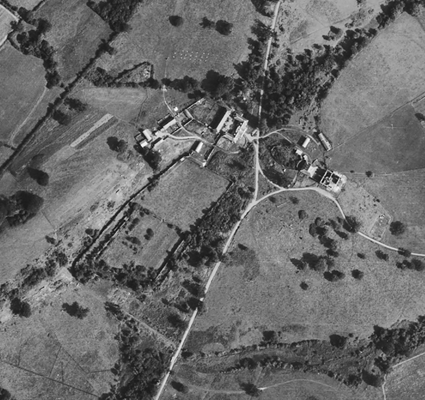 RAF aerial photograph showing remains of Middleton Hall in August 1948; destroyed by fire in 1931; demolished in 1954. DI2010_1148 RAF AP 1948 NPRN 307111