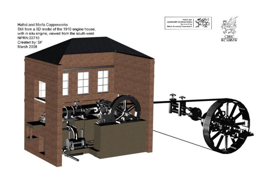 RCAHMW 3D model of the engine house at Hafod Copperworks, HMC805, nprn:- 33710