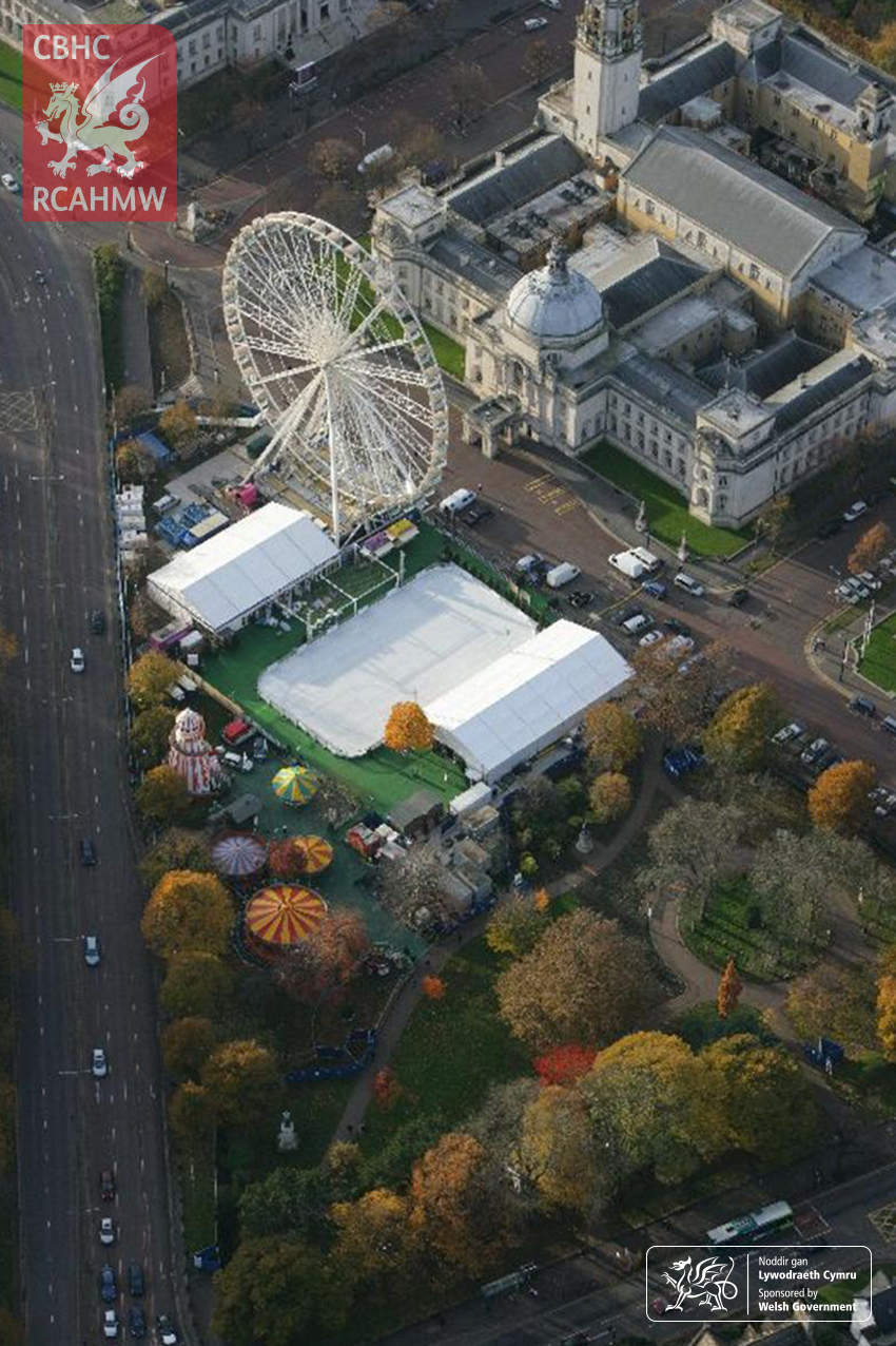 RCAHMW Oblique Aerial Photograph of Cardiff City Hall, Cardiff Winter Wonderland Fair, and Temporary Ice Rink, 2008 Ref. AP_2008_3459 C.903768 NPRN: 168
