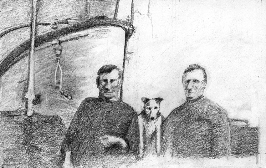 Drawing of Lotte with two prisoners on board the U 91 from a historical photograph. Source: 'SM U-91 Bilder vom UBoot', Uboot-Recherche.de, Stiftung Traditionsarchiv Unterseeboote, 2018.