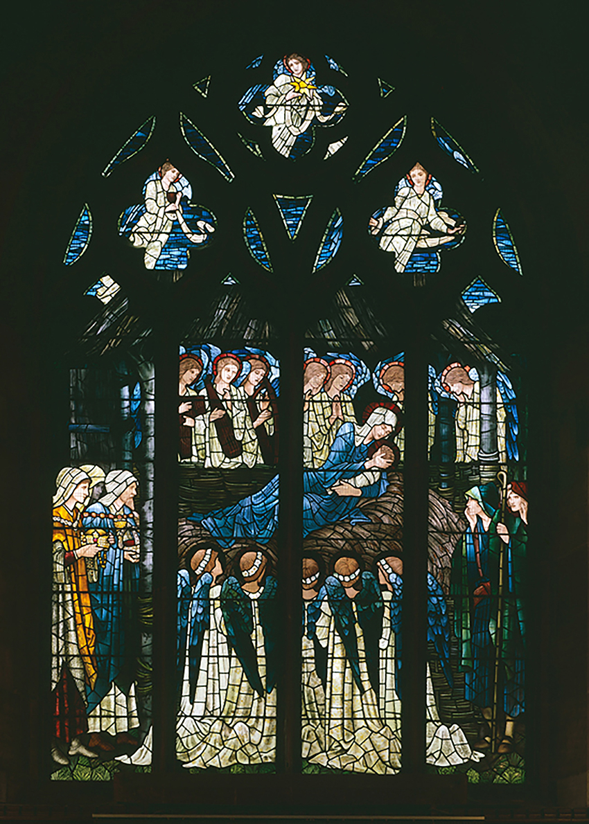 The west window at St. Deiniol's Church in Hawarden, Flintshire, showing the Adoration of the Magi. DI2005_0594, NPRN 310514