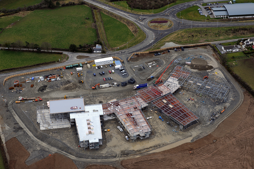 One of our aerial photographs which has recently been catalogued and added to Coflein: Ysgol Bro Teifi, Llandysul, under construction, as seen from the air in 2015.