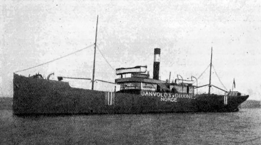 This photograph of the JANVOLD reveals the measures the owners took to prevent the ship from being attacked – the ship's name, its country of neutral origin and the Norwegian flags were all painted large on the ship's sides. Source: Image courtesy of Uboat-Net.