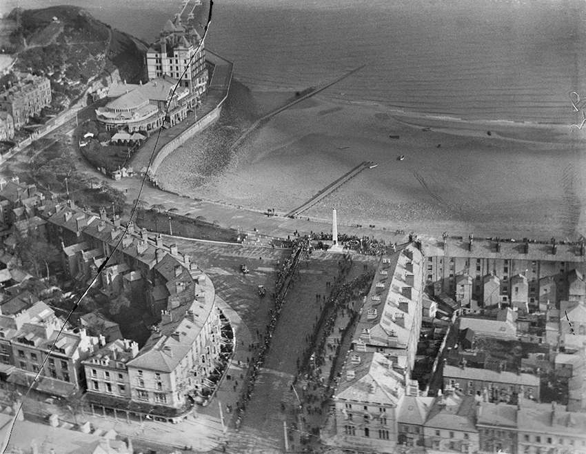 4. A view of Llandudno, showing a ceremony at the recently-erected Cenotaph war memorial during the visit of the Prince of Wales in November 1923.