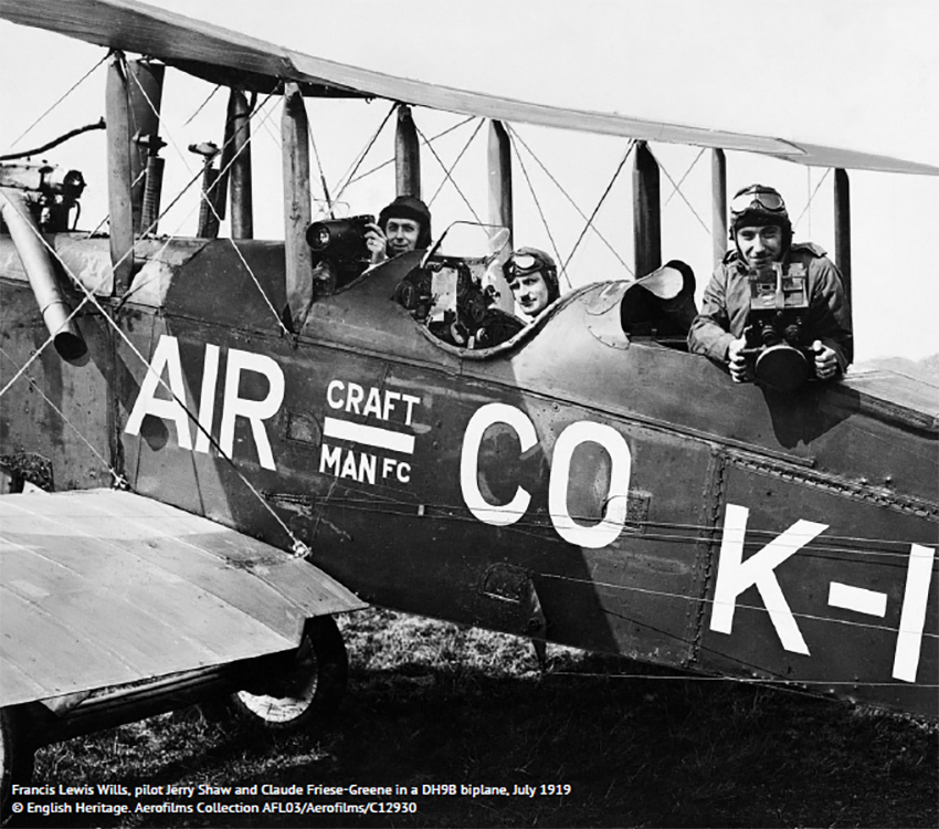 1. Aerofilms Ltd was established by First World War veteran Francis Lewis Wills and daredevil aviator Claude Grahame-White. Francis Lewis Wills is shown here (left) in a DH9B biplane, July 1919, the year Aerofilms was founded. © English Heritage. Aerofilms Collection.