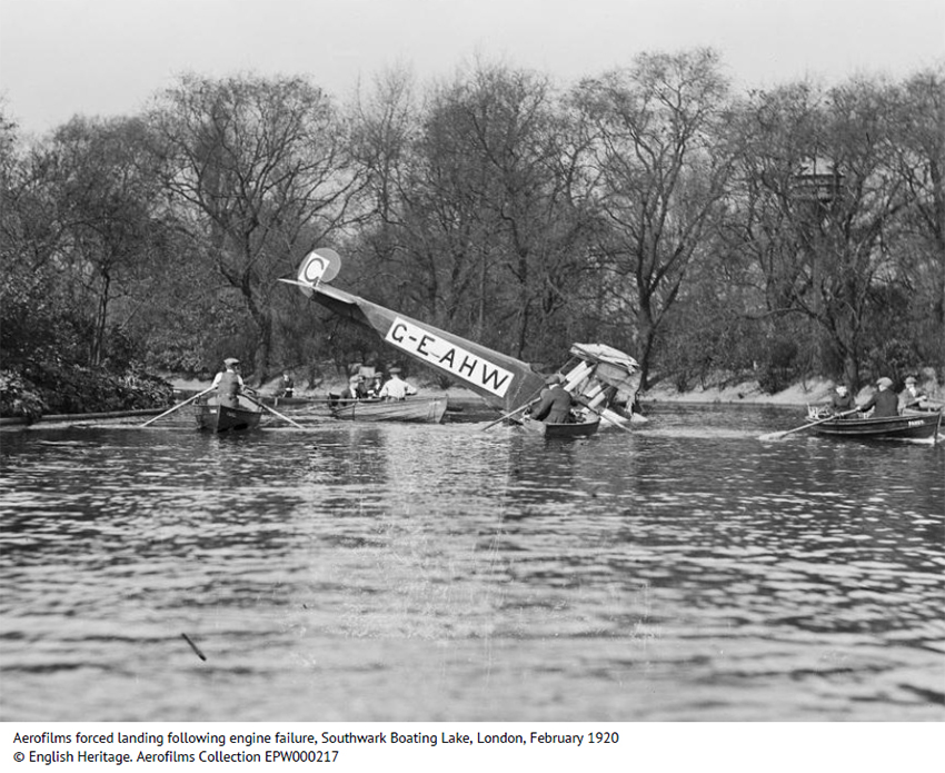 2. Aerofilms forced landing following engine failure at Southwark Boating Lake, London, February 1920 © English Heritage Aerofilms Collection.