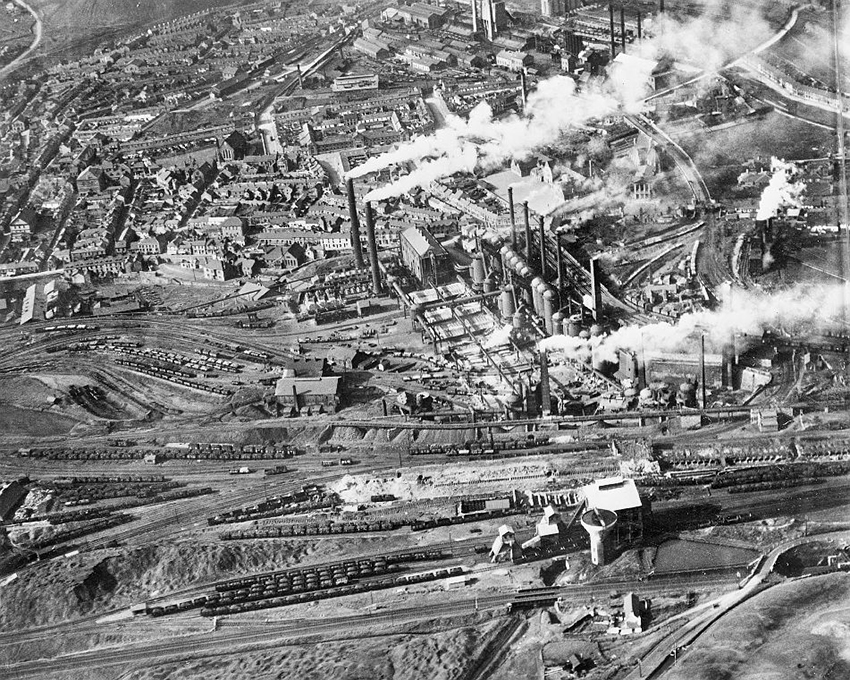 3. Dowlais Ironworks, Merthyr Tydfil, 1929 become the largest ironworks in the world during the nineteenth century with 18 blast furnaces and 8,800 employees.