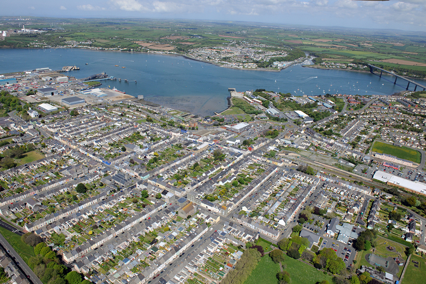 Pembroke Dock from the air. Milford Haven can be seen from the other side of the Estuary.