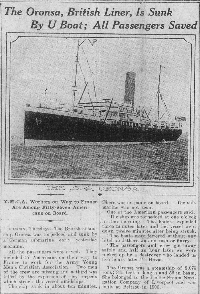 Mae'r toriad papur newydd hwn o'r New York Herald, 1 Mai 1918, yn dangos y llong yn ei holl ogoniant. Ffynhonnell: Llyfrgell y Gyngres
