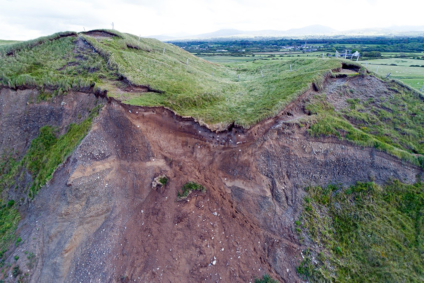 A UAV image showing the remains of a natural melt-water channel that was likely adapted to form part of the fort's defences. (Crown Copyright: CHERISH)
