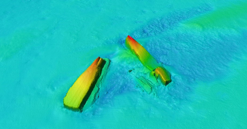 Multibeam image of the SS DRINA wreck