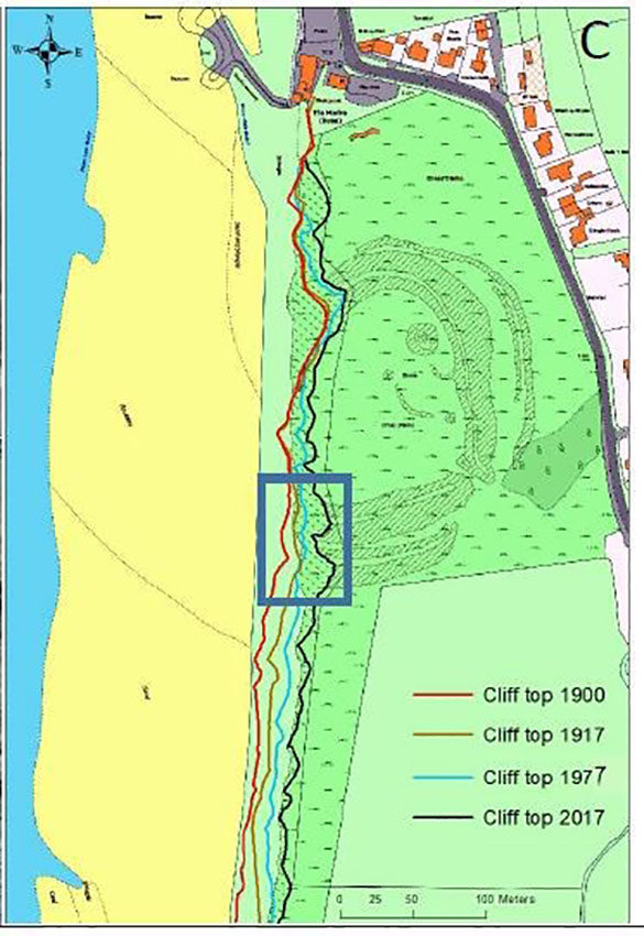 Map of Dinas Dinlle showing cliff top positions in 1900, 1917, 1977 and 2017 Most recently, erosion has been focused at the southern end of the fort where recent mass movement has taken place
