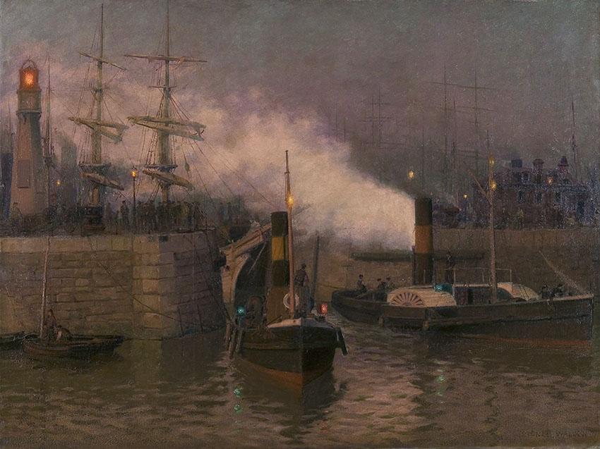 Yn Entrance to Cardiff Docks, Evening, (1893-97) mae'r arlunydd, Lionel Walden, yn cyfleu awyrgylch y porthladd prysur ac yn dangos y newid byd o longau hwylio i longau ager. ©Amgueddfa Genedlaethol Cymru ─ National Museum of Wales