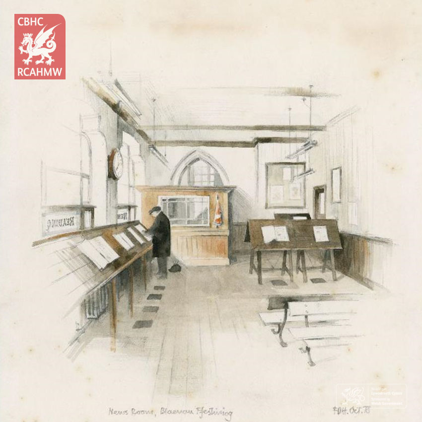 Falcon Hildred print of the Former Library and Reading Room, Blaenau Ffestiniog, 1978 Ref. FHA01/110/01     C.553287     NPRN: 416255