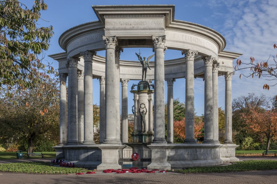 The Welsh National War Memorial, erected in Cathays Park in 1928