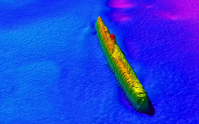An image from a multibeam sonar survey of an area approximately ten miles north-west of Bardsey Island reveals the wreck of the U-87 which was lost with all 43 hands on Christmas Day 1917. The German submarine was rammed by a British naval vessel shortly after it had sunk a cargo vessel nearby.