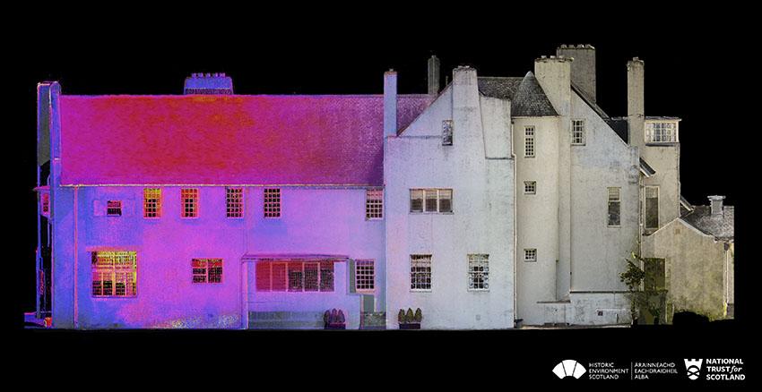 Charles Rennie Mackintosh's Hill House - Delweddu Thermol Drychiad y De