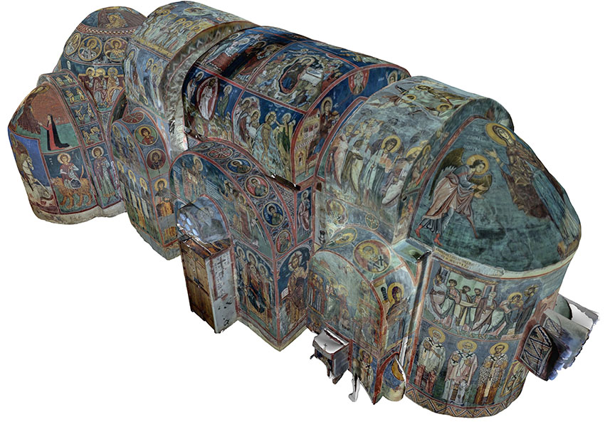 Frescoes mewnol Asinou. © Dr Marinos Ioannides. Dim ond gyda chaniatâd yr awdur.