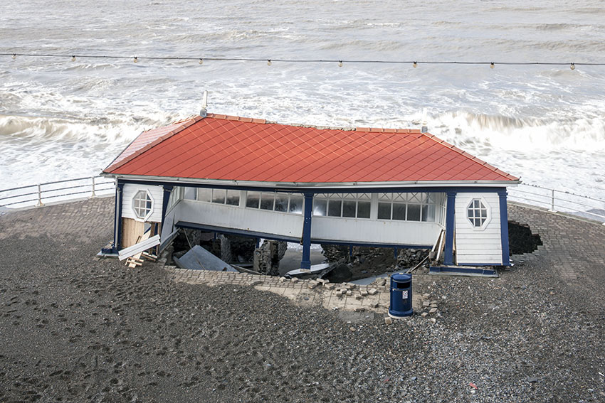 Bathrock Shelter, Aberystwyth, damaged by a storm in 2014
