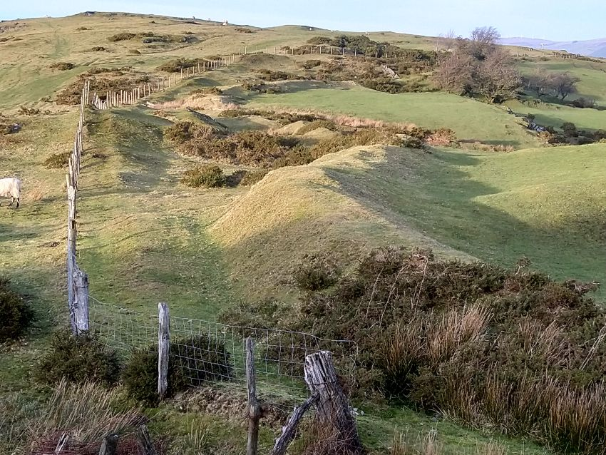 A variety of boundaries of different dates from earthen banks to the now ubiquitous post-and-wire fencing. Even modern fencing can follow the line of much older boundaries.