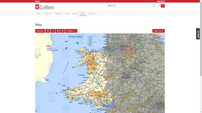 Coflein – map