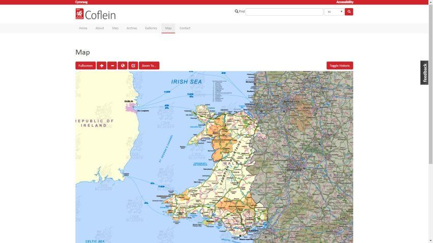 Coflein - map