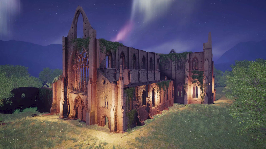 Point cloud of Tintern Abbey after laser scanning by Luminous. Survey of the site was carried out as part of the European Travellers to Wales project in 2018