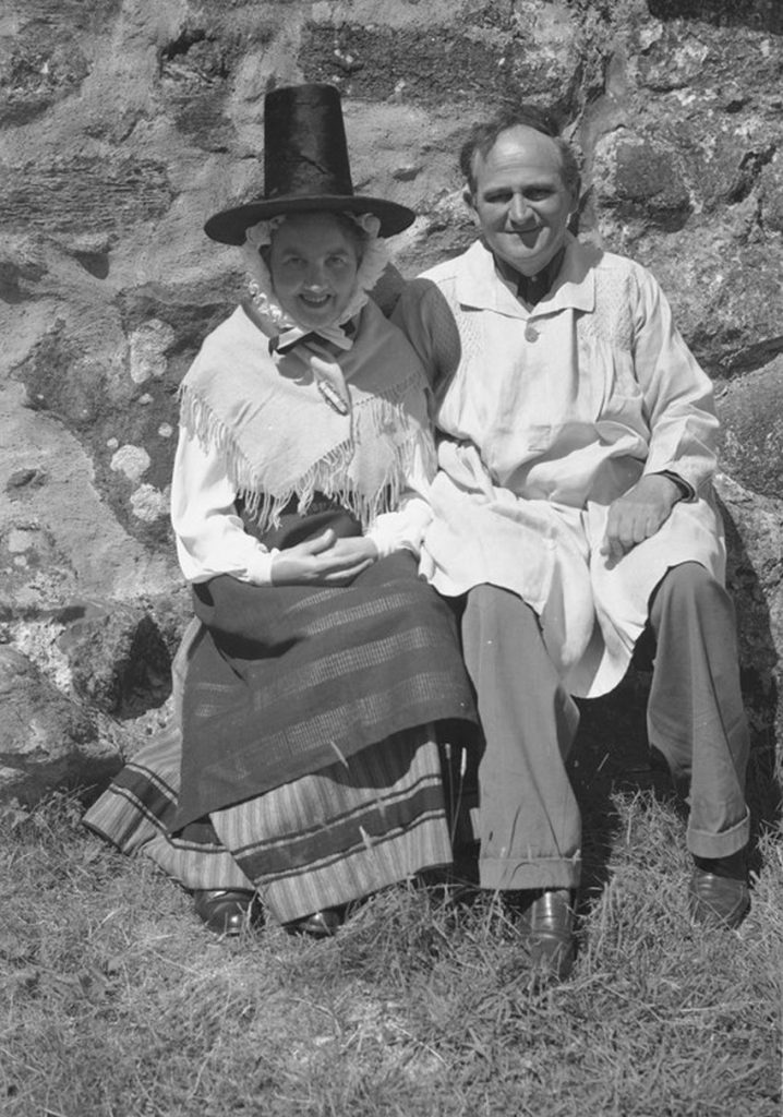 G. B. Mason and his wife taken at their home in Snowdonia c.1950.  C489340