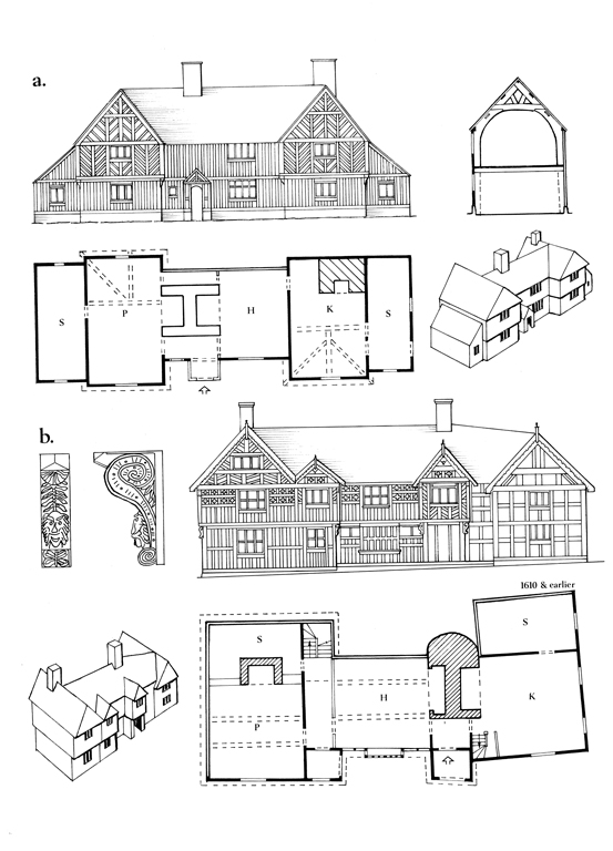 Drawings showing plans, elevations, and details of Trewern Hall (below) and Penarth, Newtown, from RCAHMW's Houses of the Welsh Countryside, fig 124