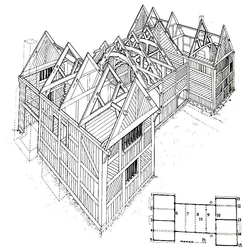 Lluniad ail-greu o Blas Newydd, Rhiwabon, o Houses of the Welsh Countryside , CBHC, ffigur 52