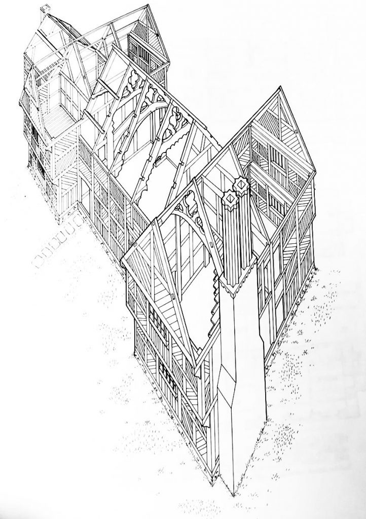 Reconstruction drawing of Althrey Hall, from RCAHMW's Houses of the Welsh Countryside, fig 201