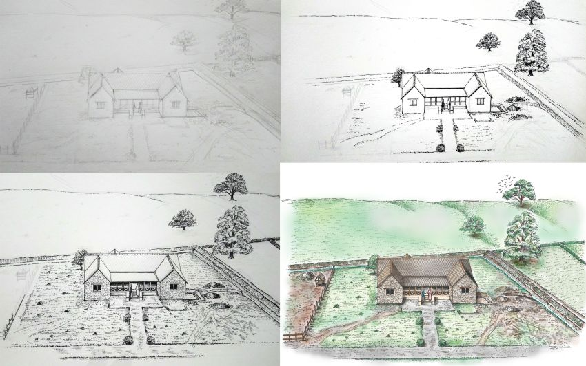 Stages in the final reconstruction of the Roman villa by Toby Driver.
