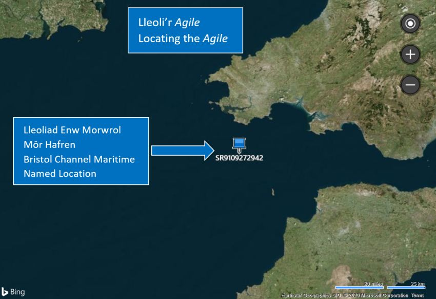 Map yn dangos y Lleoliad Enw Morwrol ar gyfer Môr Hafren. Ffynhonnell gridreferencefinder.com