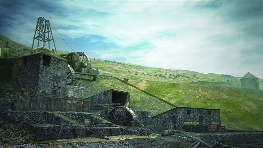 A still from a computer animation showing a reconstruction of Ystrad Einion Metal Mine, Ceredigion: 2011