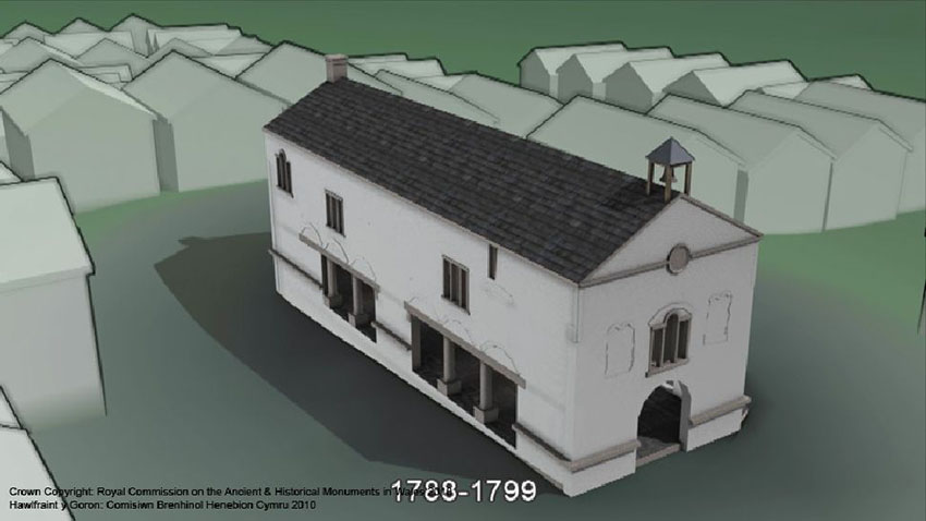 A still taken from an animation of Denbigh Town Hall, highlighting phasing: 2005