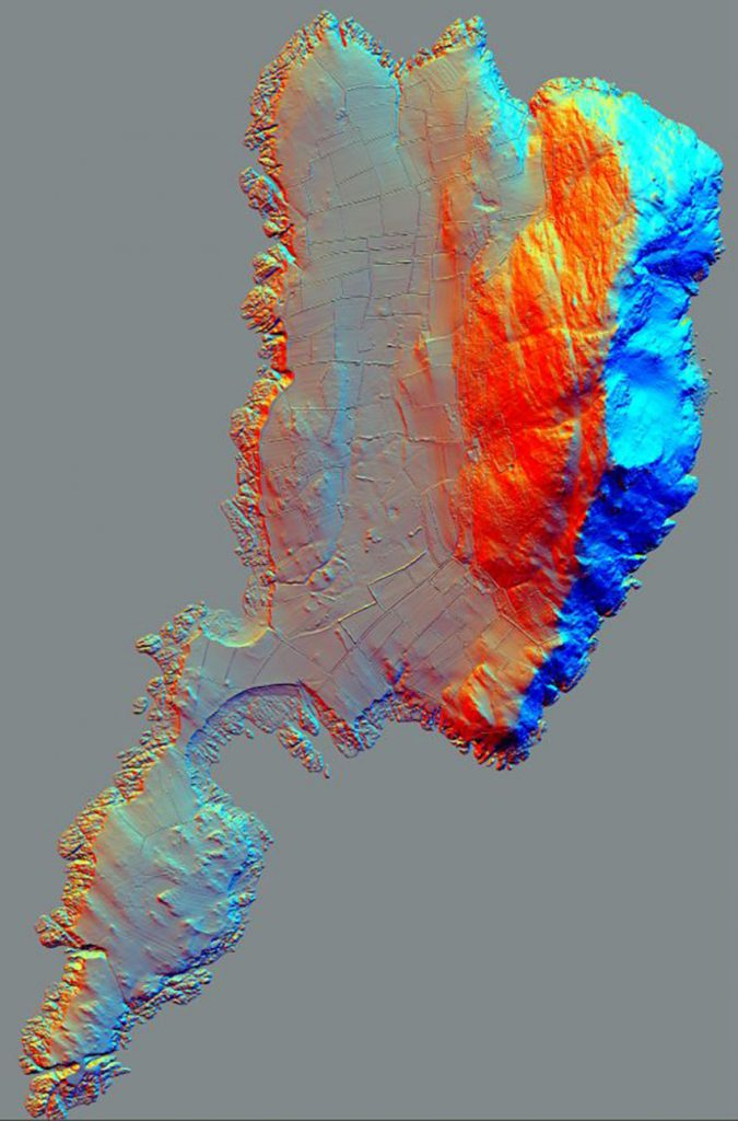 A view of Bardsey Island created from aerial LiDAR data. Artificially illuminated from three directions, the topography of the island can be seen in sharp detail,
