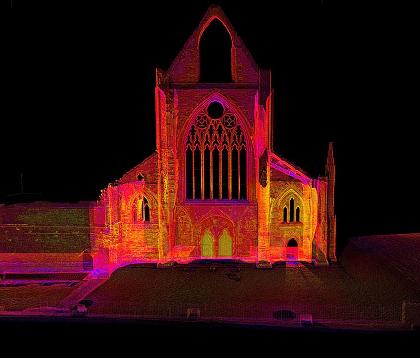 Delwedd lonydd 3D o arolwg laser-sganio o Abaty Tyndyrn: 2017