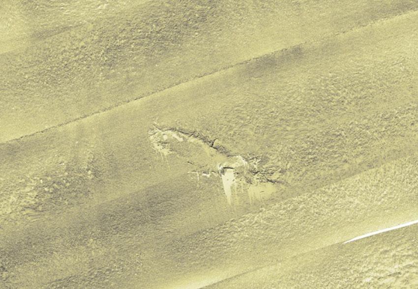 Delwedd o'r Diamond wedi'i chynhyrchu o ddata sonar amlbaladr: 2012