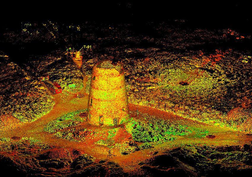 Laser scan survey image of Parys Mountain Windmill: 2000