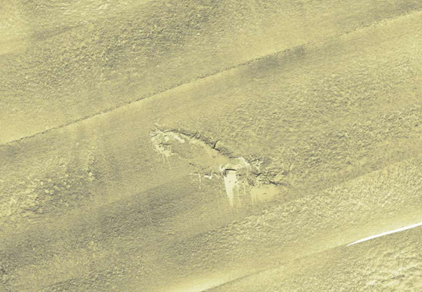 Multi-beam sonar data image of the Diamond: 2012