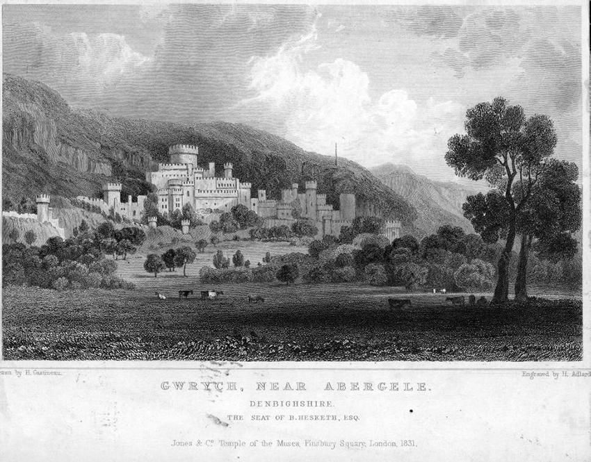 Prospect of Gwrych Castle in 1831 showing the completed castle. Engraving from Gastineau's Wales Illustrated