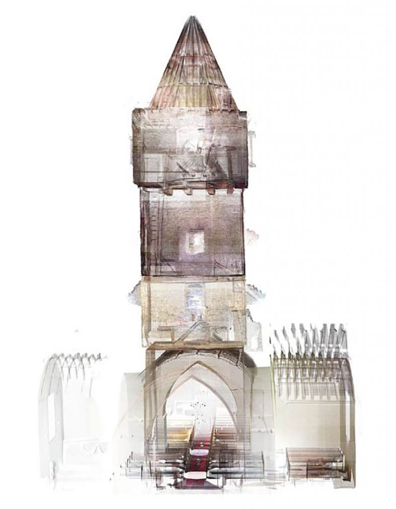 Section through a laser scan point cloud of the bell tower at St Michael's Church, Llanfihangel-y-Creuddyn carried out by the Royal Commission in 2019