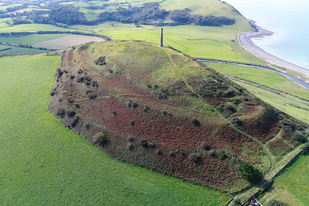 Pen Dinas hillfort, Aberystwyth. Royal Commission drone view during BBC2 filming, September 2020, flown with permission of Ceredigion County Council (Crown Copyright RCAHMW).