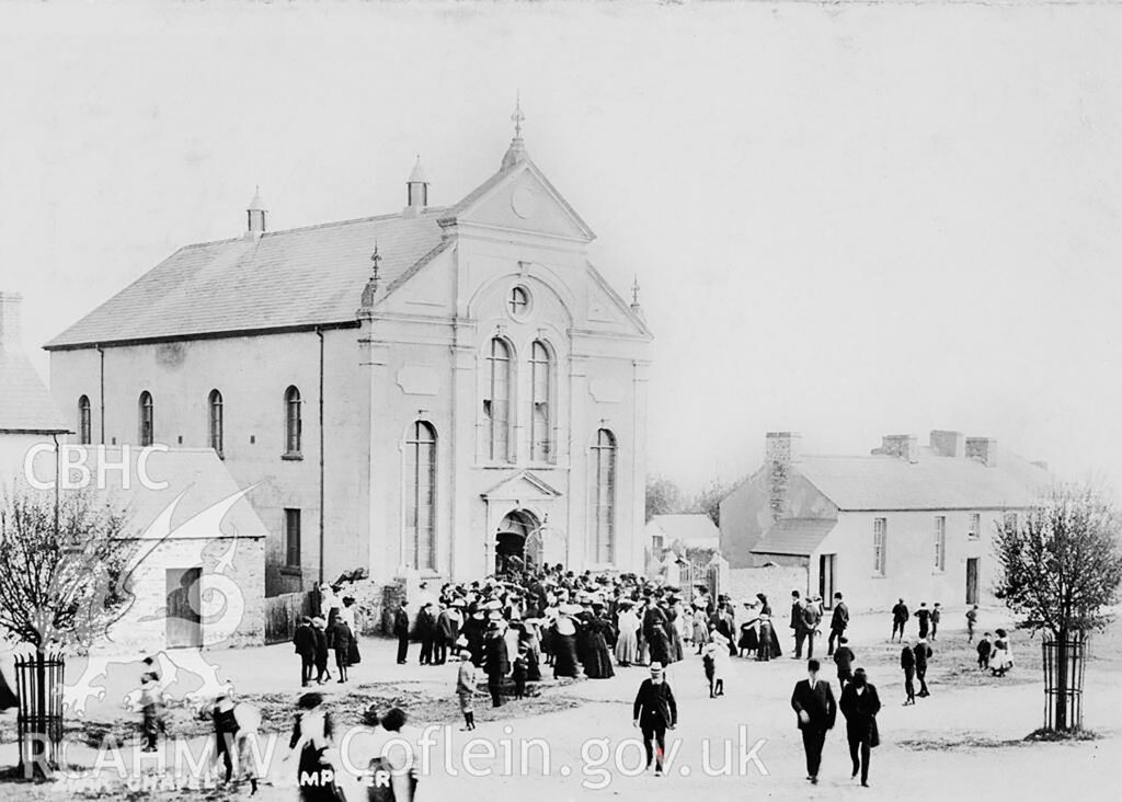 Soar Welsh Independent Chapel, Lampeter. A town chapel rebuilt in 1874; photograph showing the congregation leaving the chapel c.1910.