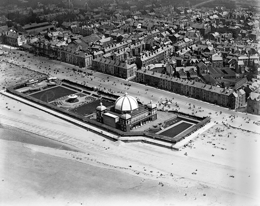 View of Rhyl showing the new pavillion and bandstand complex. Image Ref: WPW002012, Arc. 6370221