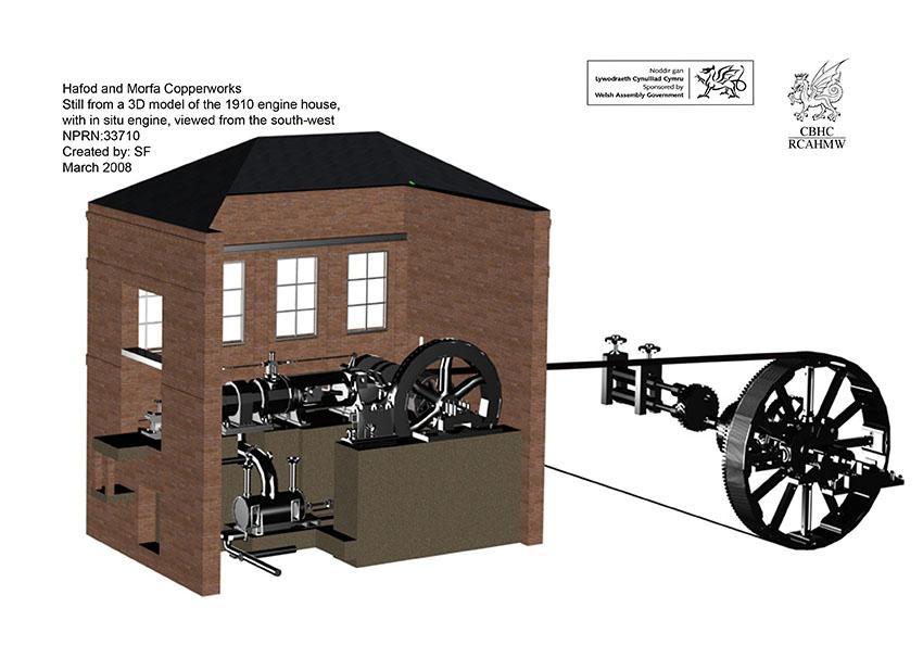 Llun llonydd o'r model 3D Studio Max rendredig yn dangos y cwt injan a'r injan yn ei lle, o arolwg gan CBHC o Waith Copr Hafod a Morfa, Abertawe, Rhif Archif. 6212585, NPRN 33710